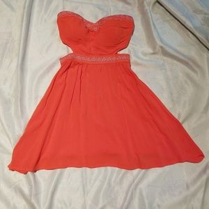 NWT Roxy Strapless cut-out coral dress sm